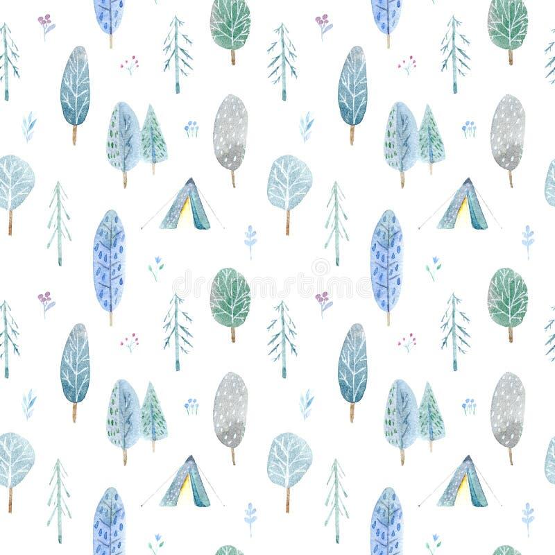 Sömlös modell av campa i träna Tält, träd, brasa, växter och blom- Landskapturism royaltyfri illustrationer