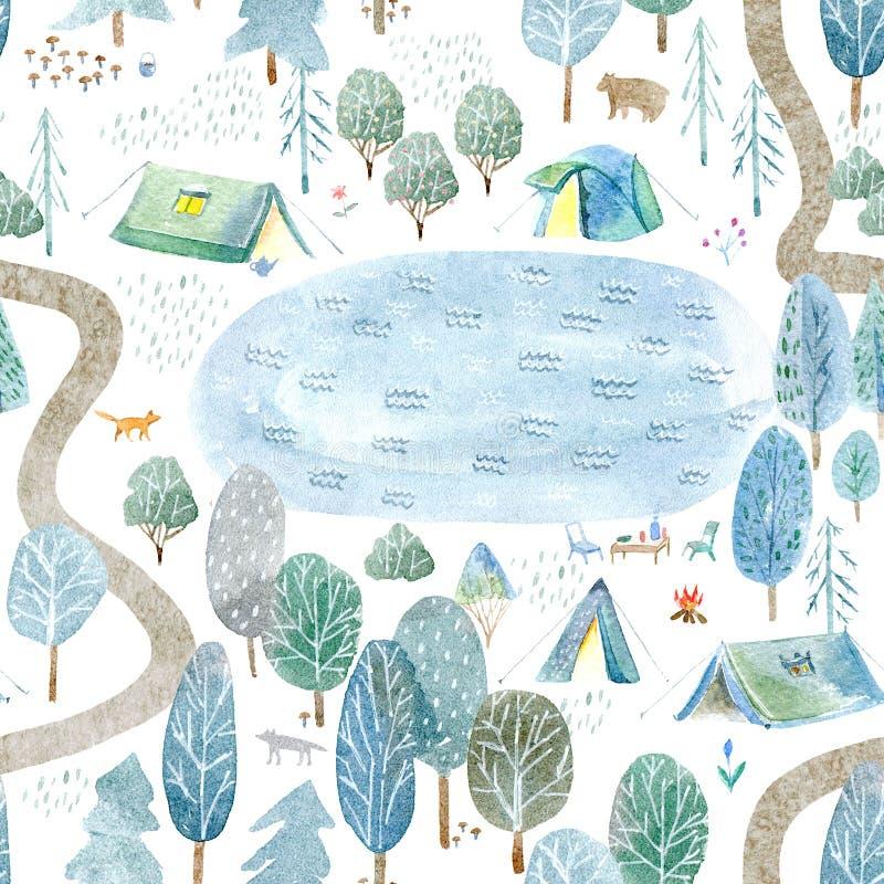 Sömlös modell av campa, sjö, väg, räv, varg, björn i träna royaltyfri illustrationer