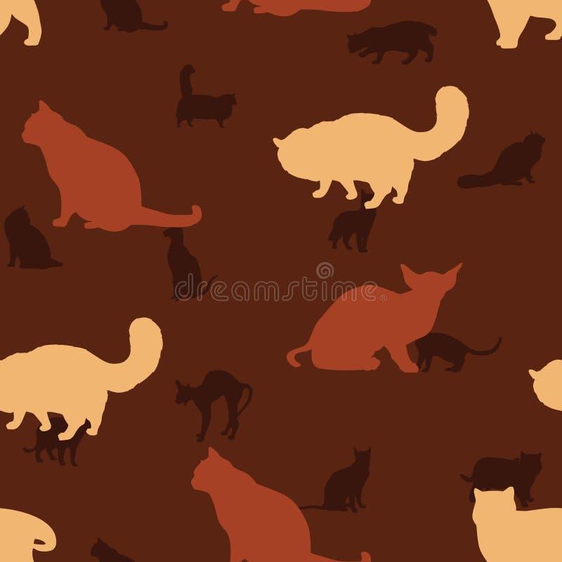 Sömlös modell av Cat Silhouette Wallpaper Background stock illustrationer