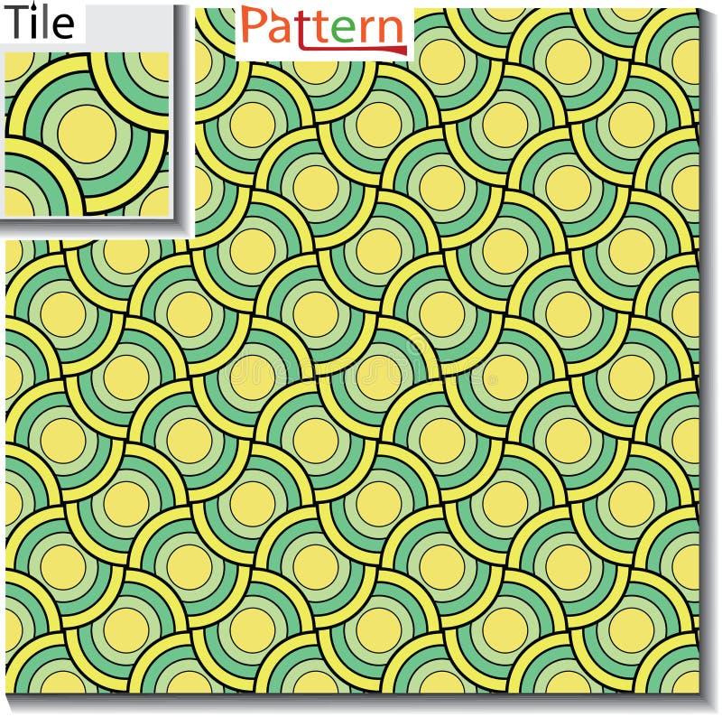Sömlös modell av cirkulärcirklar eller skivor som överlappas royaltyfri illustrationer