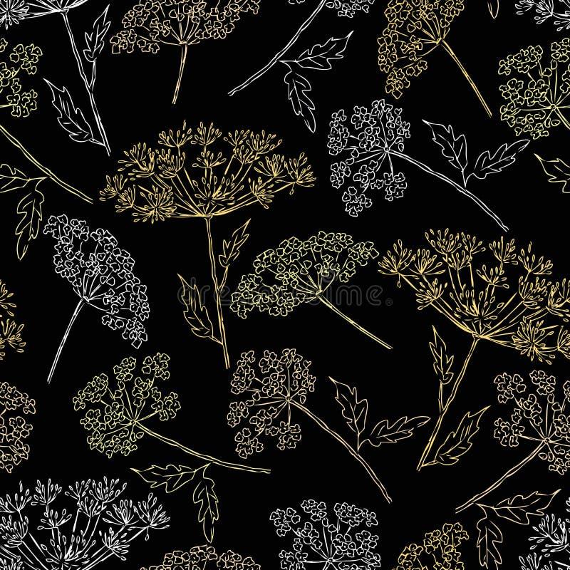 Sömlös modell av de umbellate blommorna royaltyfri illustrationer