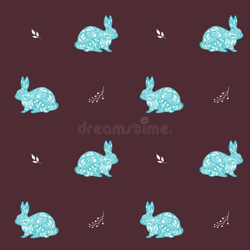 Sömlös modell av dekorativa blåa kaniner på röd bakgrund för vin Vattenfärgpåskillustration royaltyfri foto