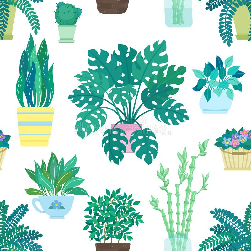 Sömlös modell av dekorativa houseplants som isoleras på vit bakgrund moderiktiga växter som växer i krukor eller planters härlig  stock illustrationer