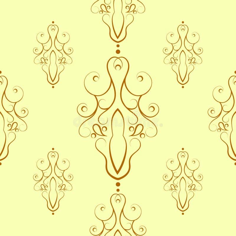 Sömlös modell av dekorativa konturbeståndsdelar vektor illustrationer