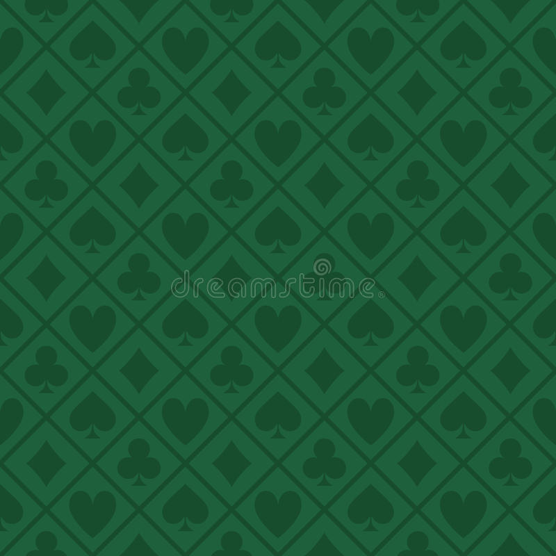 Sömlös modell av den gröna tygpokertabellen royaltyfri illustrationer