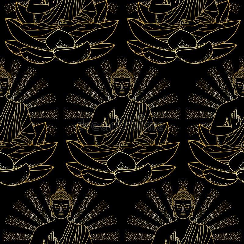 Sömlös modell av den guld- Buddha och Lotus vektor illustrationer