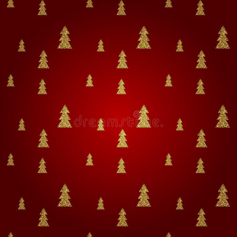 Sömlös modell av den guld- julgranen på röd bakgrund också vektor för coreldrawillustration stock illustrationer