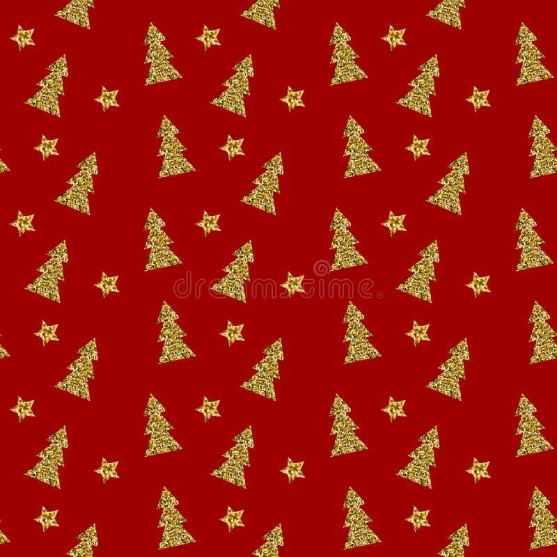 Sömlös modell av den guld- julgranen på röd bakgrund också vektor för coreldrawillustration royaltyfri illustrationer