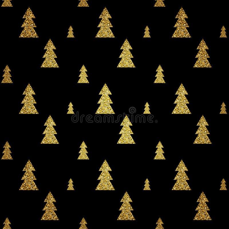 Sömlös modell av den guld- julgranen på svart bakgrund också vektor för coreldrawillustration stock illustrationer