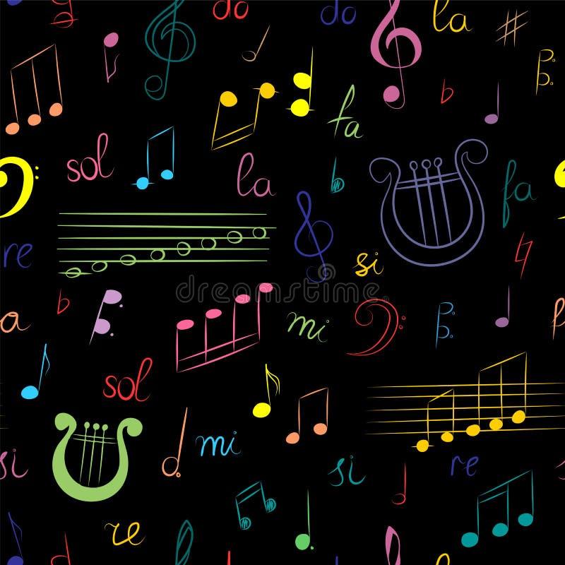 Sömlös modell av den hand drog uppsättningen av musiksymboler Färgrik klotterG-klav, Bass Clef, anmärkningar och lyra på svart Sk royaltyfri illustrationer