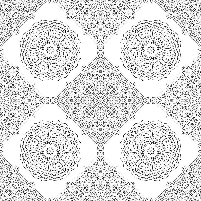 Sömlös modell av den svartvita mandalaen Fodra konstbakgrund royaltyfri illustrationer