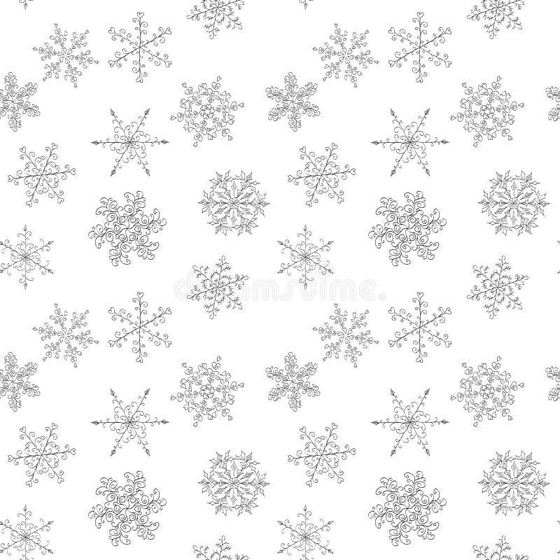 Sömlös modell av dendrog svartvita snöflingan royaltyfri illustrationer