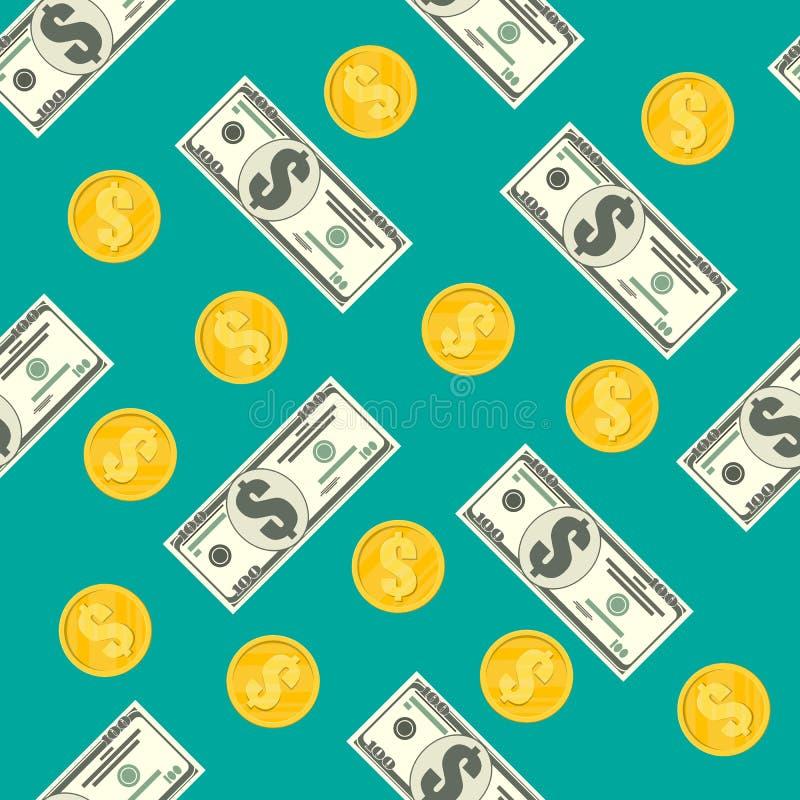 Sömlös modell av dollarsedlar, guld- mynt vektor illustrationer
