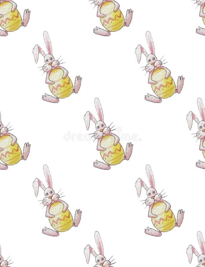Sömlös modell av easter rosa kaniner som rymmer ett gult ägg på en vit bakgrund stock illustrationer