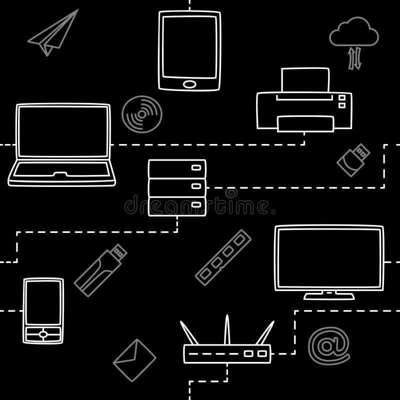 Sömlös modell av elektroniska grejer för massmedia och internet i svart också vektor för coreldrawillustration royaltyfri illustrationer