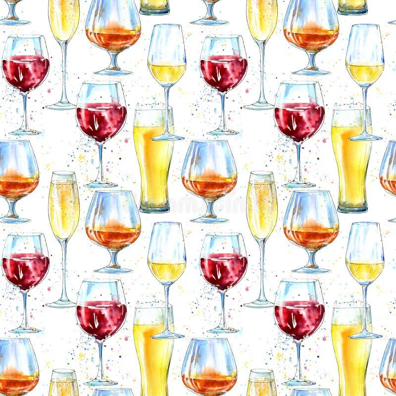 Sömlös modell av en champagne, en konjak, ett vin, ett öl och ett exponeringsglas vektor illustrationer