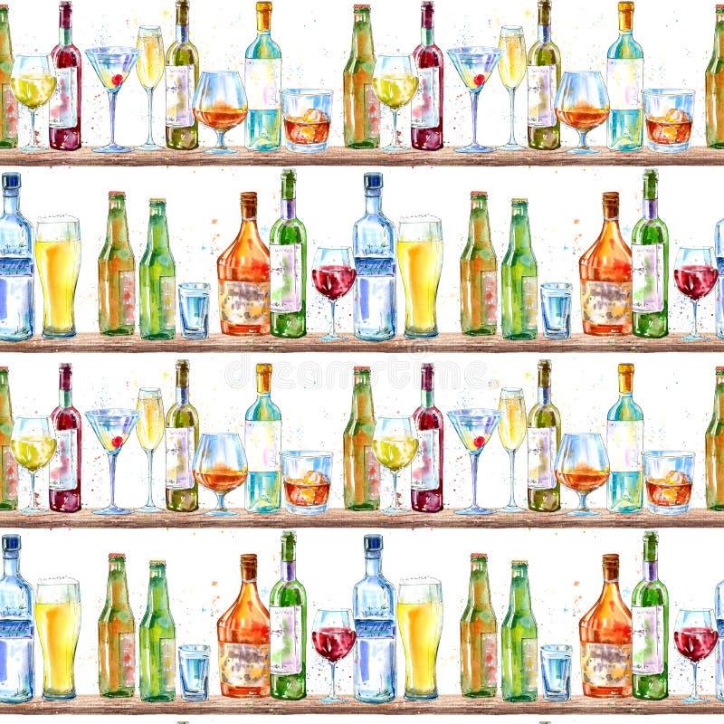 Sömlös modell av en champagne, en vodka, en konjak, ett vin, ett öl och ett exponeringsglas vektor illustrationer