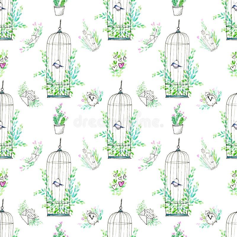 Sömlös modell av en klocka, fartyget, buren med en fågel, flygplanet, kaktuns, bootle, bokstaven och blom- stock illustrationer