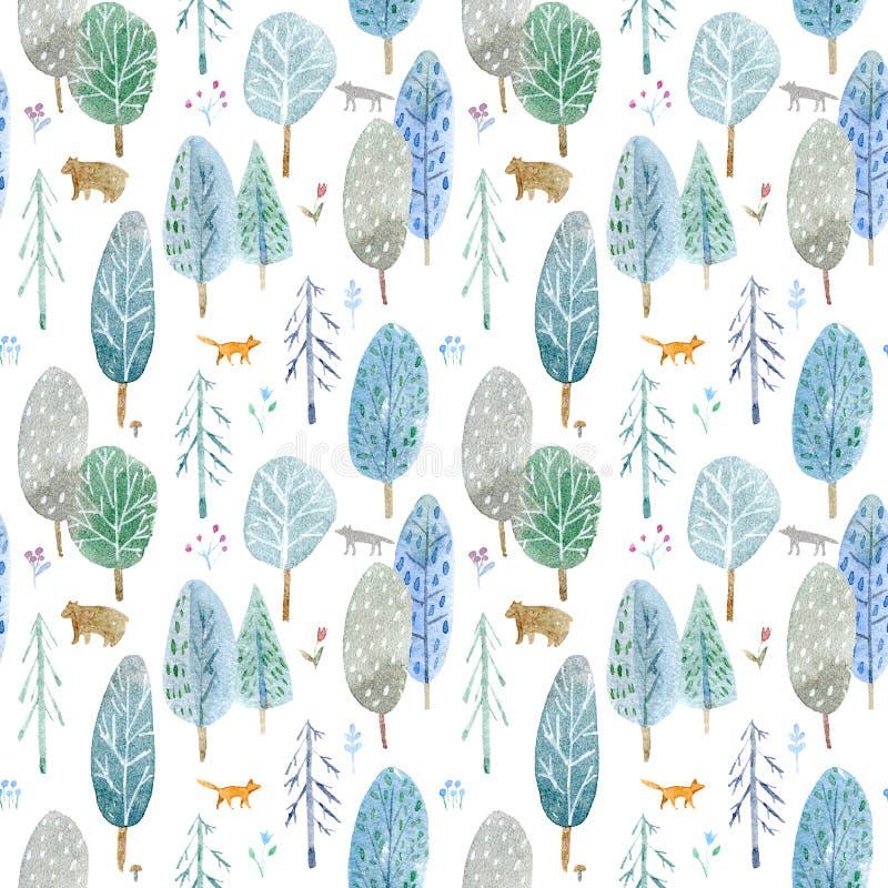 Sömlös modell av en skog, en björn, en räv, en varg och en blomma vektor illustrationer