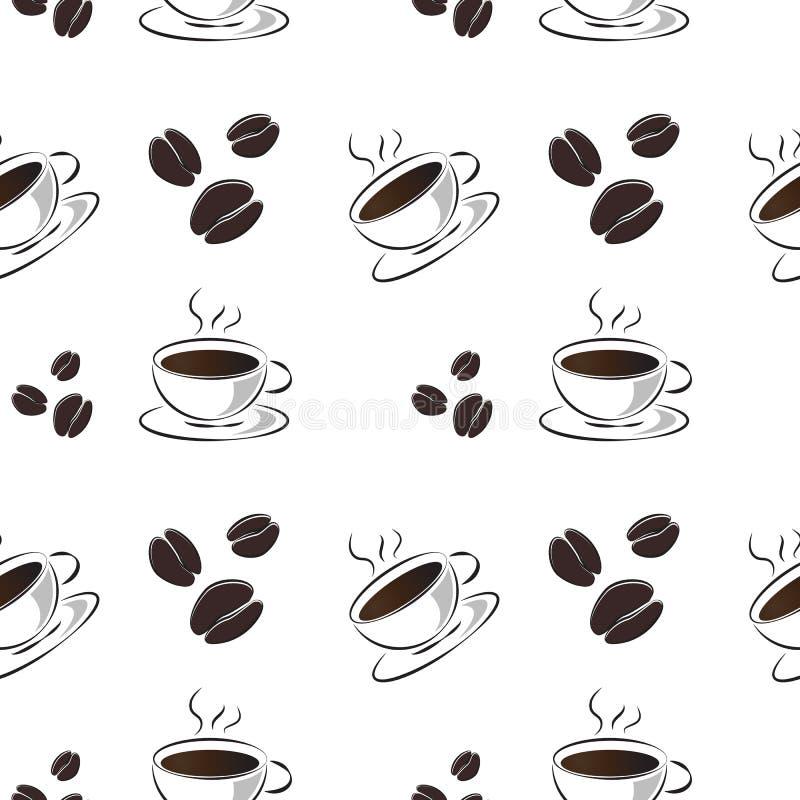 Sömlös modell av en varm bakgrund för vektor för kaffekopp och för kaffebönor royaltyfri illustrationer