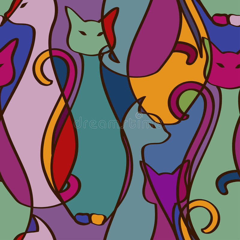 Sömlös modell av färgrika afrikanska katter vektor illustrationer
