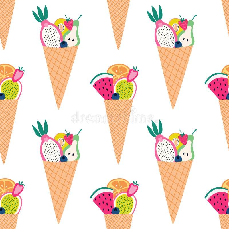 Sömlös modell av färgrika fruktkottar med skivad frukt stock illustrationer