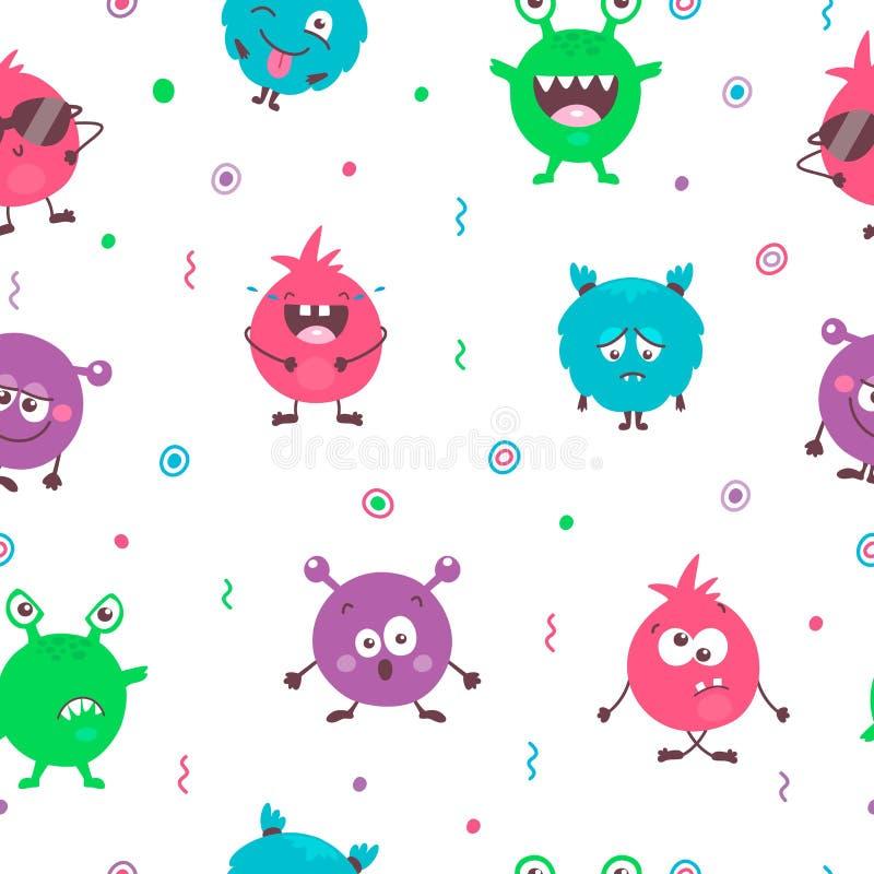 Sömlös modell av färgrika monster för gullig tecknad film med olika sinnesrörelser Rolig emoticonsemojissamling för ungar vektor illustrationer