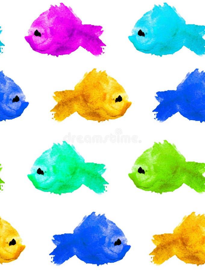 Sömlös modell av färgrika och olika fiskar för färgvattenfärgkontur som göras i form av fläckar, fläckar i prickar på stock illustrationer