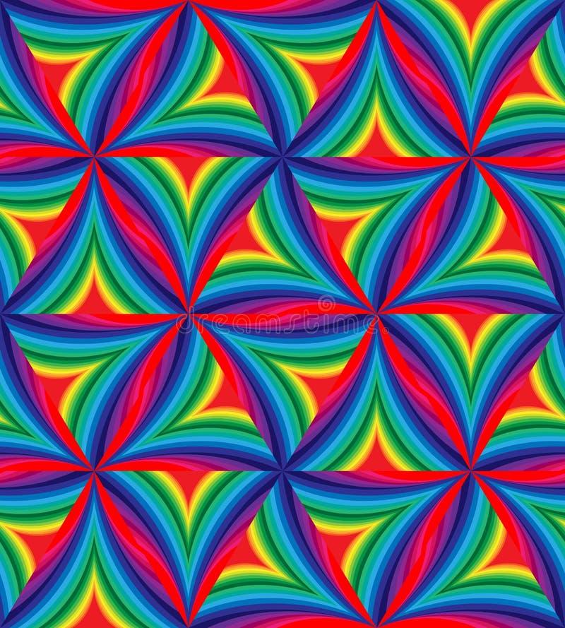Sömlös modell av färgrika randiga krökta trianglar geometrisk abstrakt bakgrund royaltyfri illustrationer