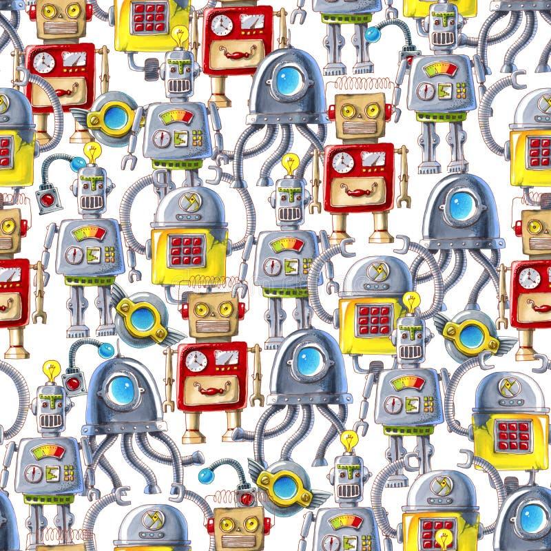 Sömlös modell av färgrika robotar på vit bakgrund royaltyfri illustrationer