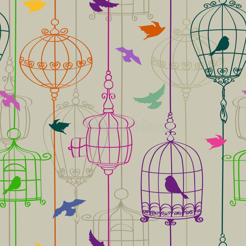 Sömlös modell av fåglar och burar vektor illustrationer