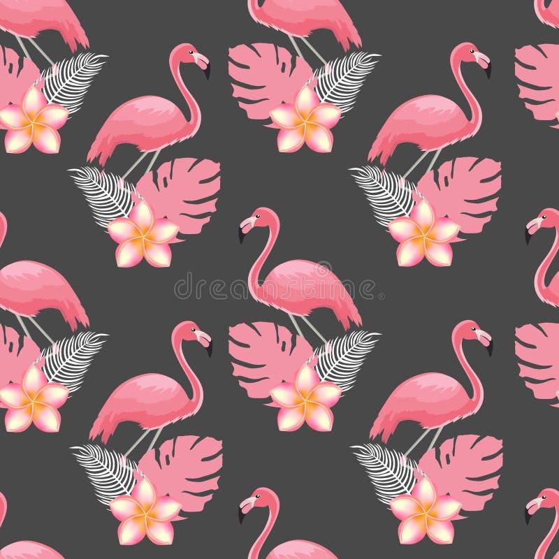 Sömlös modell av flamingo och tropiska växter stock illustrationer