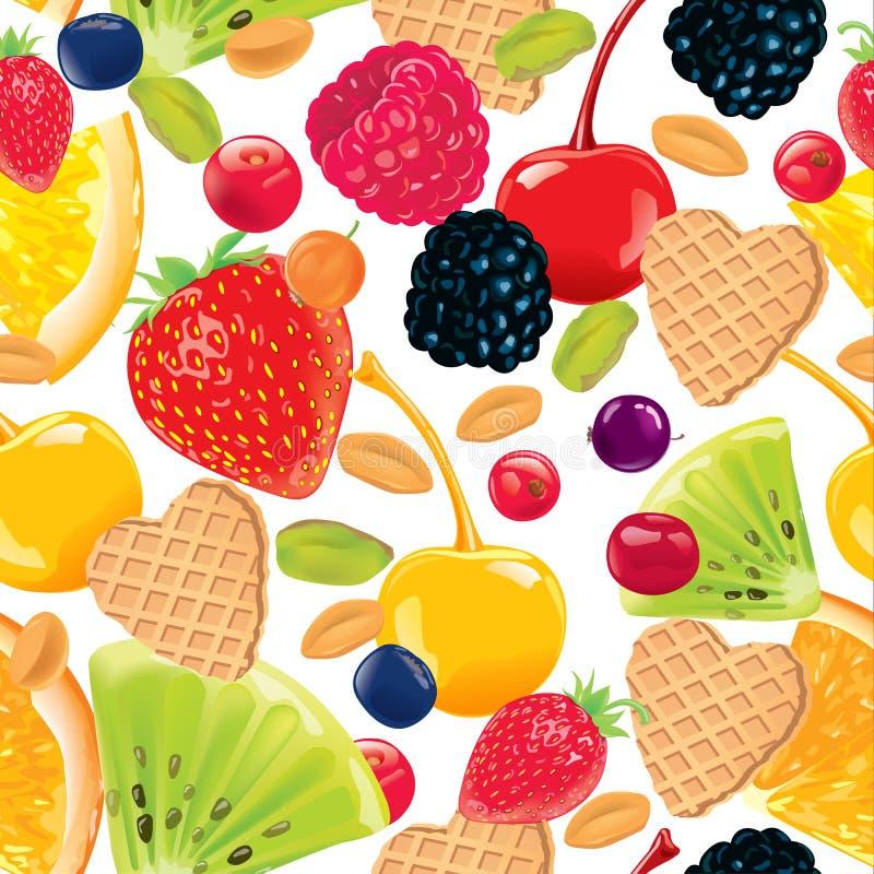 Sömlös modell av frukt, muttrar, dillandear vektor illustrationer