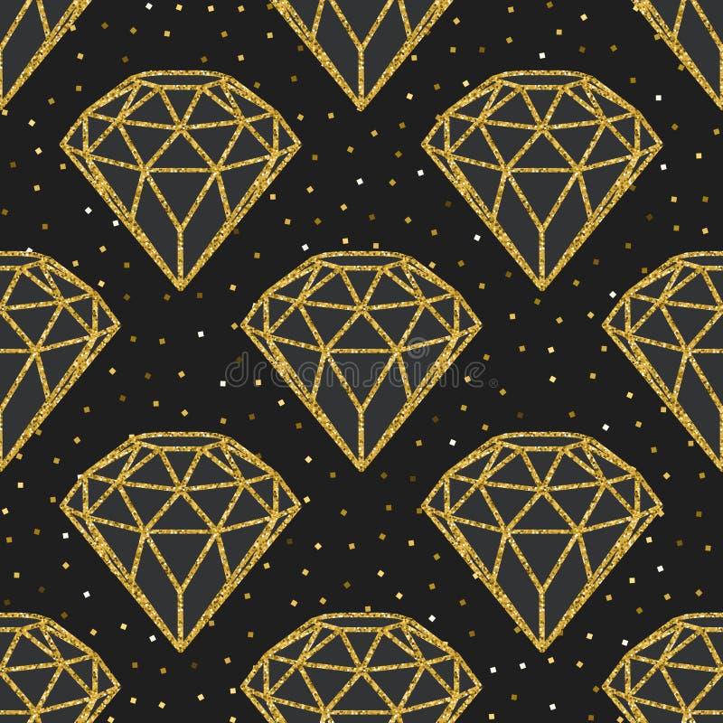 Sömlös modell av geometriska guld- foliediamanter på svart bakgrund Moderiktig hipsterkristalldesign stock illustrationer