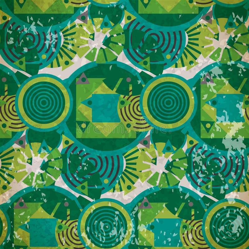 Sömlös modell av gröna geometriska former i tappningstil royaltyfri illustrationer