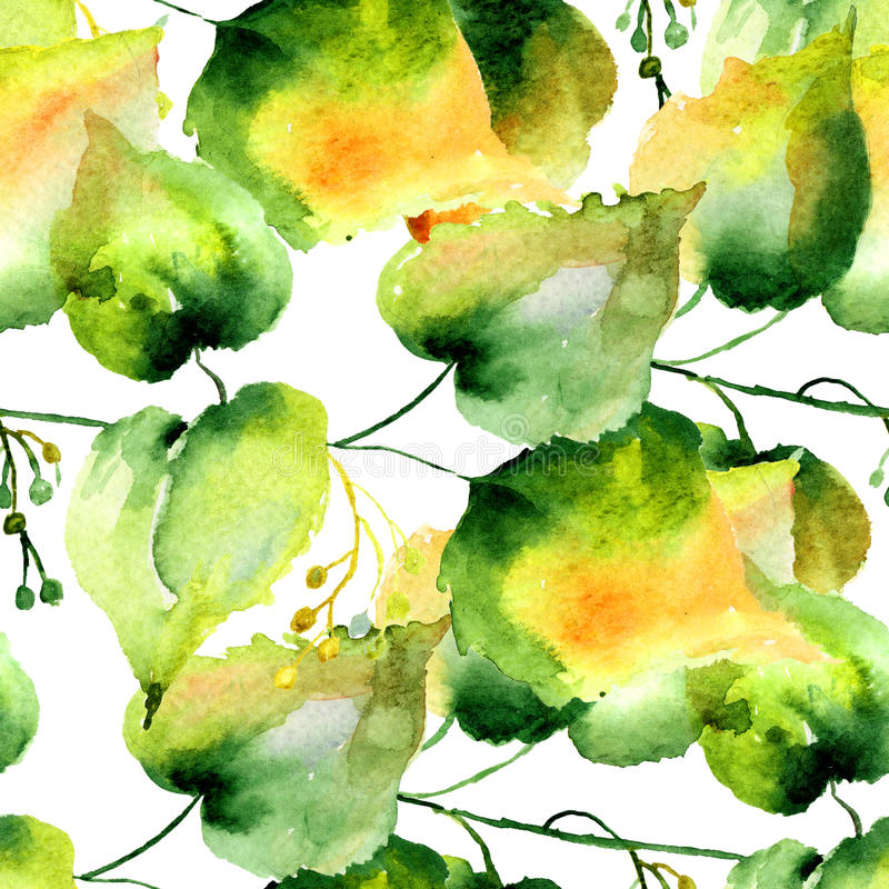 Sömlös modell av gröna lindsidor royaltyfri illustrationer