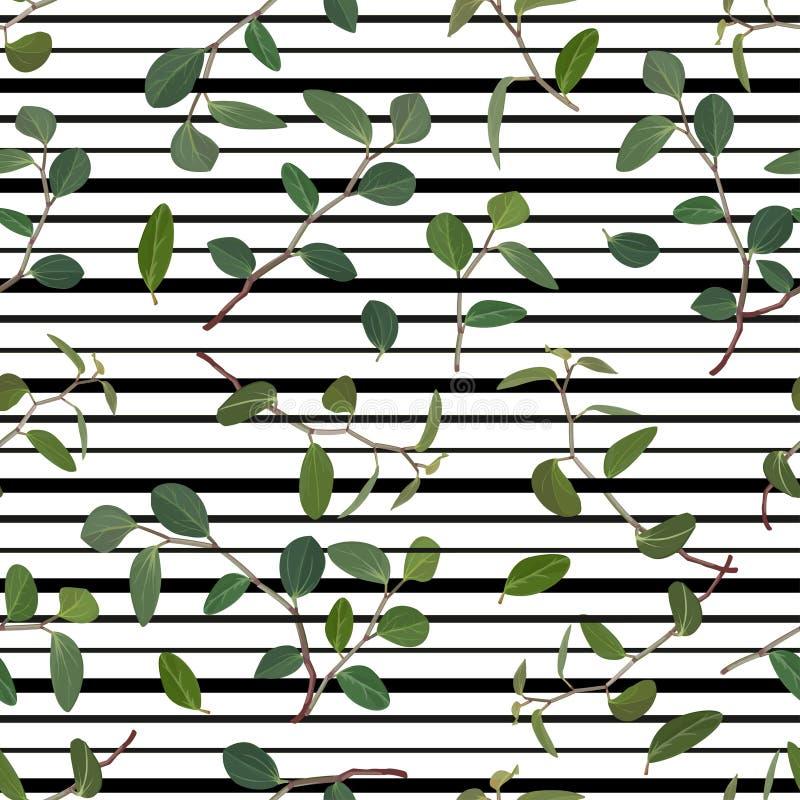 Sömlös modell av gröna sidor och filialer av blommatradiskantsaniyaen på en randig bakgrund vektor stock illustrationer