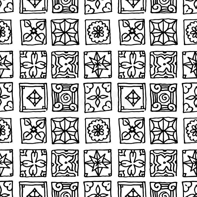 S?ml?s modell av grungetegelplattor Tappningislam, arabiskt som ?r indisk, dekorativa designbest?ndsdelar f?r ottoman Handdrawn m stock illustrationer