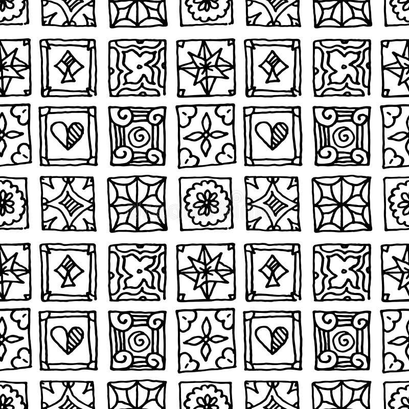 S?ml?s modell av grungetegelplattor Tappningislam, arabiskt som ?r indisk, dekorativa designbest?ndsdelar f?r ottoman Handdrawn m vektor illustrationer