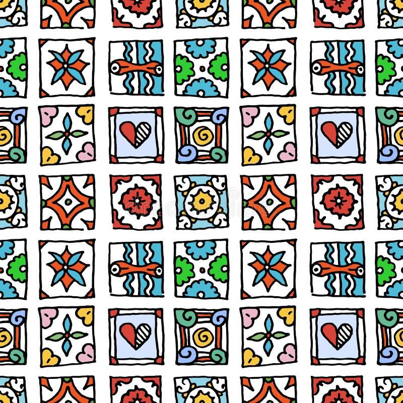 S?ml?s modell av grungetegelplattor Tappningislam, arabiskt som ?r indisk, dekorativa designbest?ndsdelar f?r ottoman Handdrawn m royaltyfri illustrationer