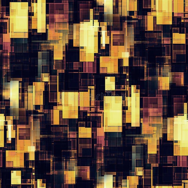 Sömlös modell av gula och rödbruna designfyrkanter för brunt, royaltyfri illustrationer
