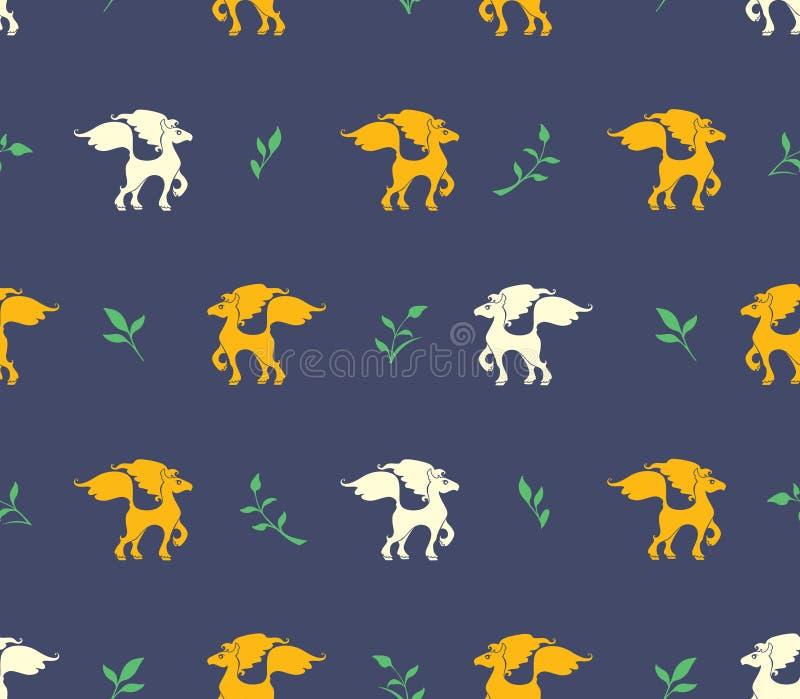 Sömlös modell av gula och vita hästar och grönt ris på en mörk bakgrund stock illustrationer
