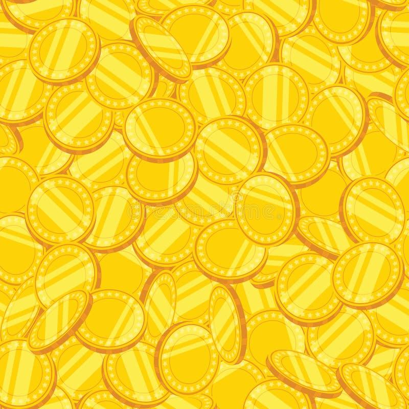 Sömlös modell av guld- mynt också vektor för coreldrawillustration royaltyfri illustrationer