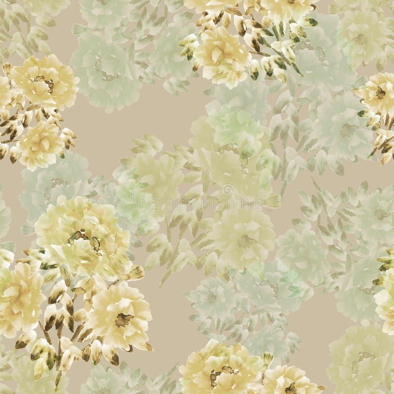 Sömlös modell av guling, gröna blommor av pioner på en ljus beige bakgrund vektor för detaljerad teckning för bakgrund blom- vatt royaltyfri illustrationer