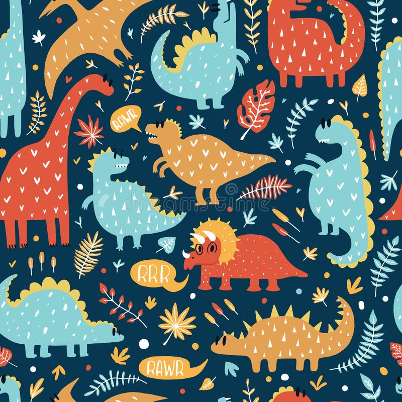 Sömlös modell av gulliga dinosaurier med tropiska sidor Hand tecknad vektorillustration Gullig dino design för ungar vektor illustrationer