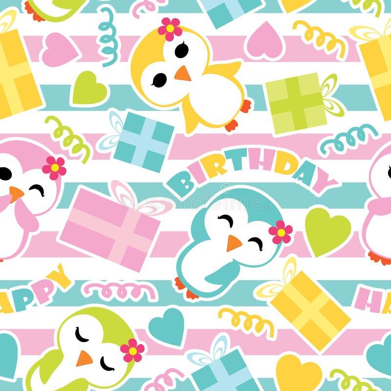 Sömlös modell av gulliga pingvinflickor och födelsedaggåvaaskar på den randiga illustrationen för bakgrundsvektortecknad film för royaltyfri illustrationer