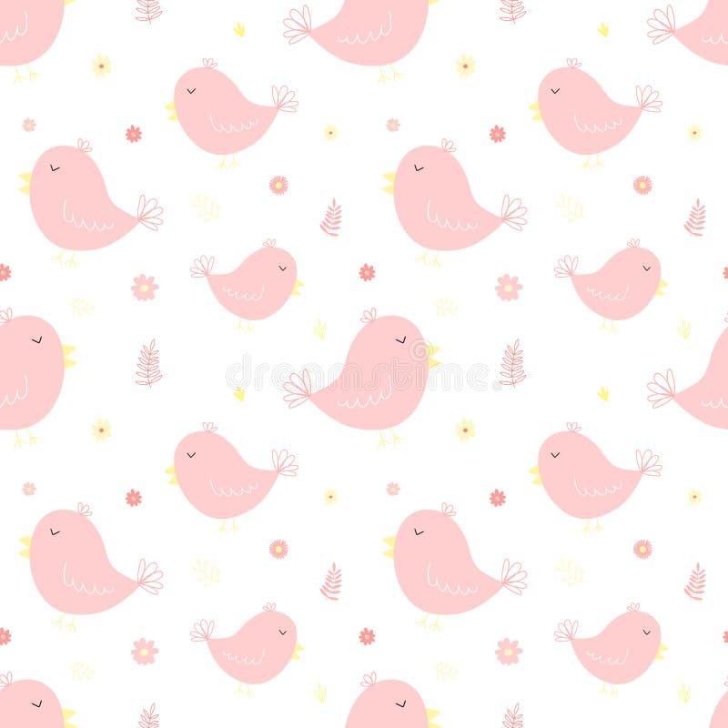 Sömlös modell av gulliga rosa fåglar och blommor Vektorbild f?r flicka Illustration för ferie, baby shower, födelsedag, textil, stock illustrationer