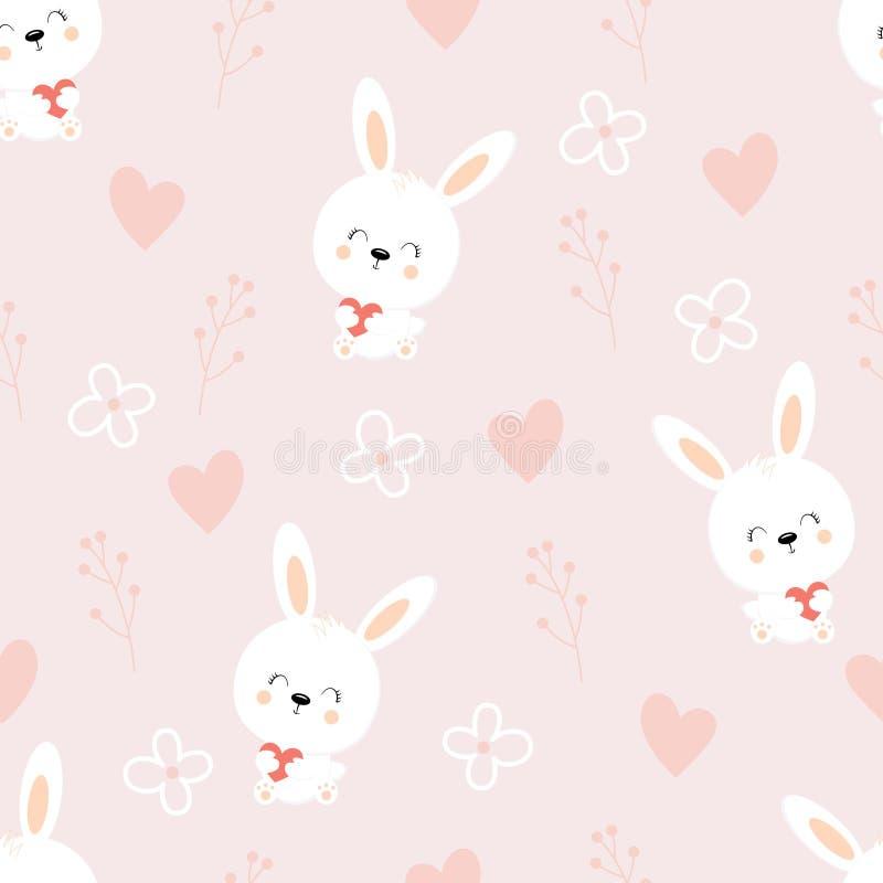sömlös modell av gulliga vita kaniner på purpurfärgad bakgrund med blom- beståndsdelar stock illustrationer