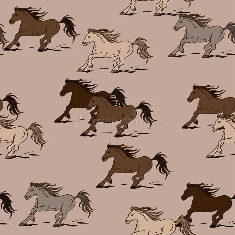 Sömlös modell av hästar stock illustrationer