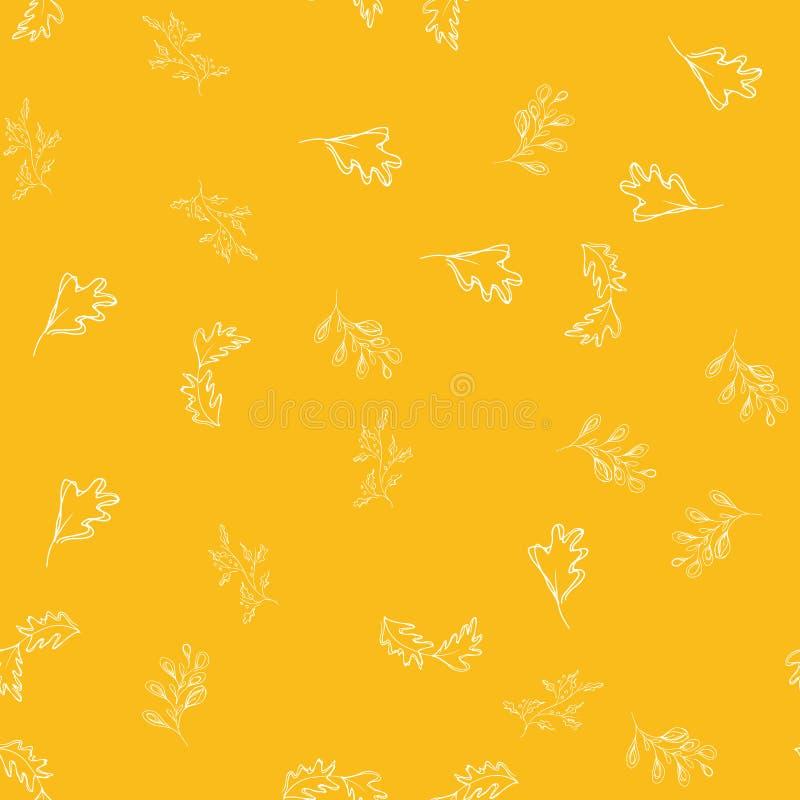 Sömlös modell av höstsidor som isoleras på orange bakgrund Abstrakt tryck med sidor Elegant härlig sömlös prydnad stock illustrationer
